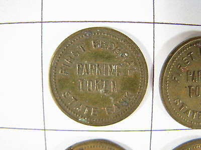 Lot of 6 Vintage First Federal State Bank Iowa Parking Tokens
