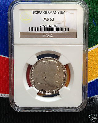 NGC MS 63 1939 A 5 Mark WW2 SILVER German Third  Reich Coin