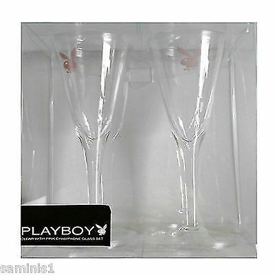 "New~A Pair (2) ""playboy"" Champagne Flutes In Presentation Box~Sets (2) (4) & (6)"