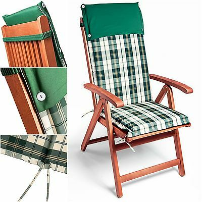 Chair Cushion Garden Seat Outdoor Patio Green White Plaid Cover Padding Set of 6