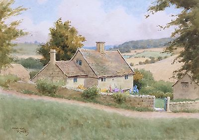 Original watercolour painting of a farm cottage in Stroud signed Montague Rivers