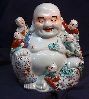 Vintage Antique Porcelain Happy Laughing Buddha with 5 Boys