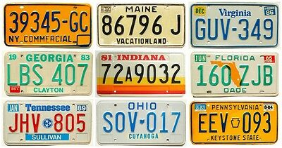 Vintage 1980s Old Embossed License Plate Lot (9) PA NY FL VA GA IN TN OH ME