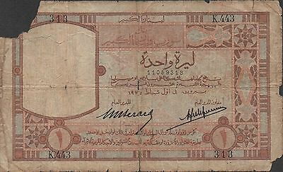 Lebanon , 1 Lira , 1.2.1935 , P 12 , Series K. 443 , Used , Scarce