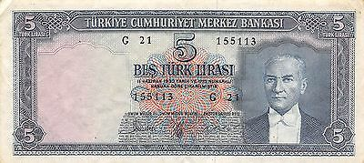 Turkey  5 Lira  4.1.1965  P 173a  Series G 21 circulated Banknote A19
