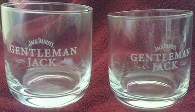 Set of 2 Gentleman Jack whiskey round rock glasses brand new never used