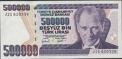 Turkey 500,000  Lira ND. 1998 P 212  Circulated Banknote