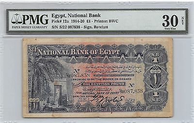 Egypt  1 Pound 22.9.1918  P 12a PMG VF. 30 net Circulated Banknote
