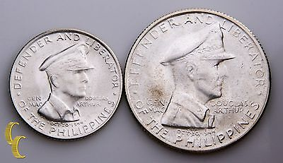 1947 Philippines 50 Centavos & Peso silver coin lot of 2pcs km#184-5 (BU)