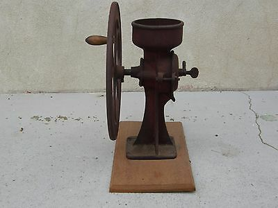 Rare  Antique / Vintage Cast Iron #2 Coffee Grinder On Wood Base Very Large