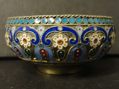Antique Russian silver 88 cloisonne enamel bowl by Pavel Ovchinnikov. 36 grams