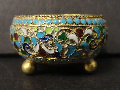 Antique Russian silver 84 cloisonne enamel footed salt. Weight is 27 grams.
