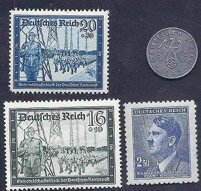 Nazi Germany 3rd Reich Nazi 1942 F 1Rpf Swastika Coin & Hitler Stamp Lot WW2 #t