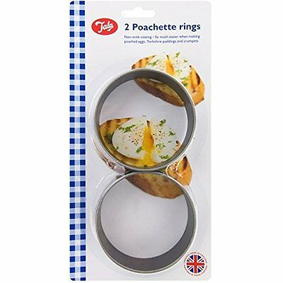 2 x Tala Poachette Teflon Rings egg Poacher Crumpets Non Stick Kitchen Utensil