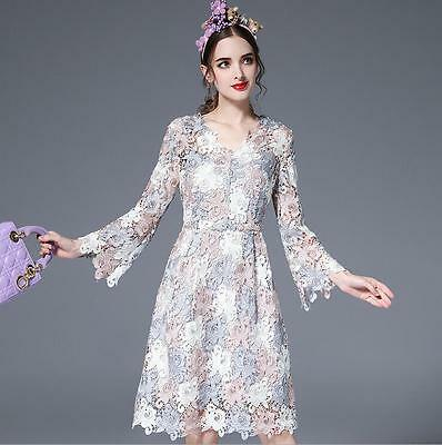Short Lace Floral Womens Formal Evening Dress Long Sleeve Party