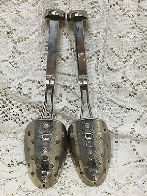Vintage Pair Of Ekco Adjustable Metal Shoe Tree Forms Stretchers Made In Usa