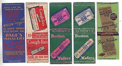 Lot of 5 Different Vintage 1930s MATCHBOOK COVERS Drug Store Products