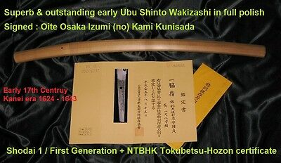SUPERB 17th C. STRONG OYA KUNISADA UBU WAKIZASHI BOHI - Japanese Samurai sword