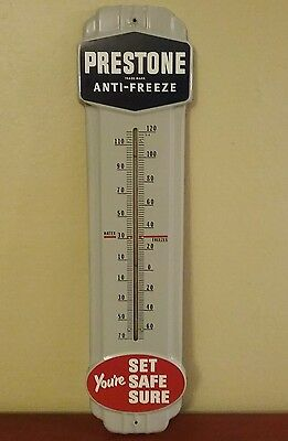 "Vintage  PRESTONE ANTI FREEZE Gas Oil Porcelain Thermometer Sign,  36""  WORKS"
