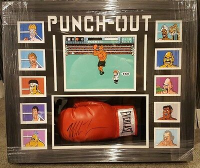Mike Tyson Autographed Boxing Glove Custom Framed With Punch-Out Characters Jsa