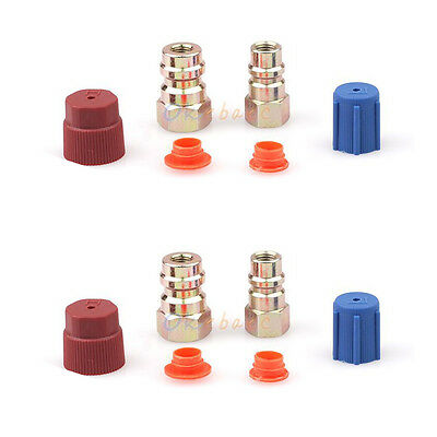 """2x AC Fitting Charging Port Adapter Retrofit R12 to 134a 3/16"""" (HIGH) 1/4"""" (LOW)"""