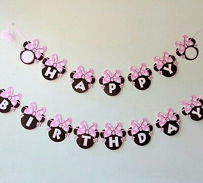 MINNIE MOUSE BANNER BUNTING Happy birthday Minnie mouse hanging decoration