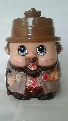 mid century cookie jar jolly man japan