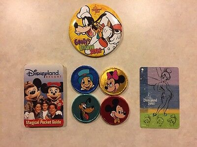 Disneyland Hotel Room Key Card, Goofy Pin, Pocket Guide and Chocolate Coins