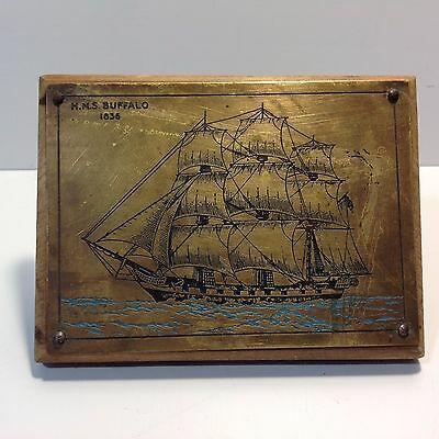Vintage Brass Plaque / Picture HMS BUFFALO 1836