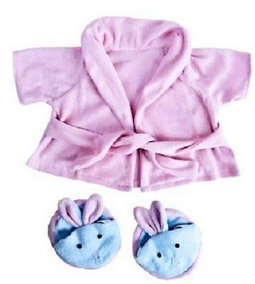 "PINK BATHROBE & BUNNY SLIPPERS TEDDY OUTFIT FOR 16""/40cm BUILD YOUR OWN BEAR"