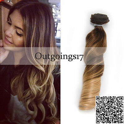 Balayage Brazilian Remy Clip in Human Hair Extensions Ombre Brown Full Head