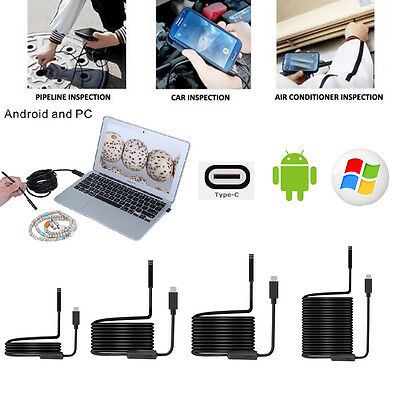 1M-10M 8LED 5.5-8mm PC Android USB+TYPE-C Endoscope Inspection Camera Waterproof