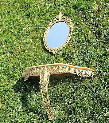 Ornate Wall Mounted Console Marble Top Mirror Medusa Hollywood Regency