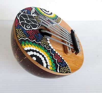 Vintage Hand Painted Coconut KALIMBA Great Tone and Appearance