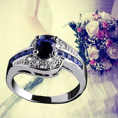 Blue Sapphire White Gold Filled Engagement Ring Size 7 8 9 Rings Jewelry New GA