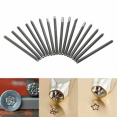16pcs Assorted Punches For Jewelry Flower Punch Stamp Steel Stamp Punch Tools
