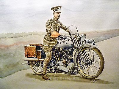 TE Lawrence of Arabia Brough Superior  Print from my original Watercolour