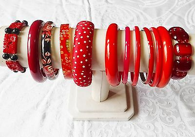 Vintage & Retro Lucite Plastic Material Glass   Reds Bangle Collection 12 Wow