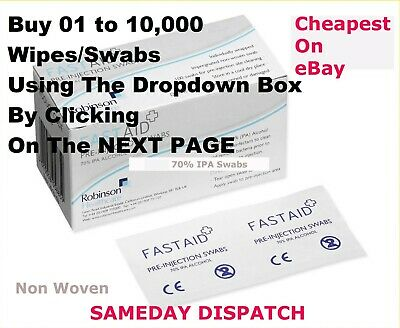 FastAid 70% IPA Alcohol Wipes Pre-Injection Syringe Swabs Like Alcotip TATTOO
