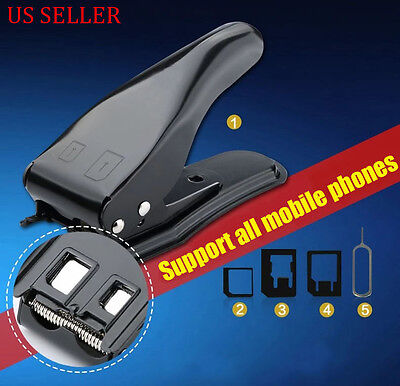 Micro/Standard to Nano SIM Card Cutter For Apple iPhone 5G 5th + Adapters