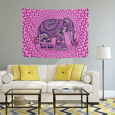 Large Indian Elephant Print Tapestry Wall Hanging Mandala Hippie Throw Bedspread