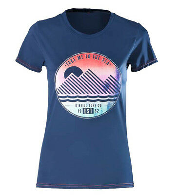 O'Neill Womens Graphic Rash Tee - Navy/Coral