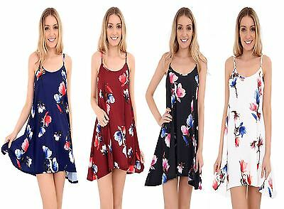 New Ladies Womens Floral Printed Cami Summer Swing Mini Dress Top Plus Size 8-26