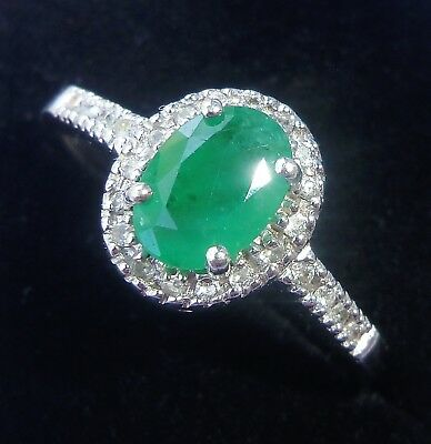9ct White Gold Emerald & 0.10ct Diamond Cluster Ring, Size O 1/2