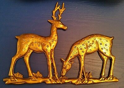 "Vtg Brass Feeding Deer Plaque Wall Hanging Buck Doe 10"" x 13"" fallow Chital sika"