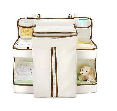 Nappy Changer Baby Organiser Dispenser Attaches to Cots, Dresser Changing Tables