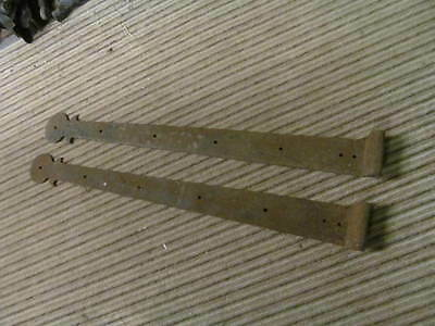 pair of Vintage Wrought Iron Stepped Hinges For An Old Barn Gate - approx 32ins