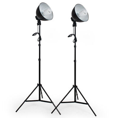 2x Continuous studio light video photography lighting kit  light stand with bulb