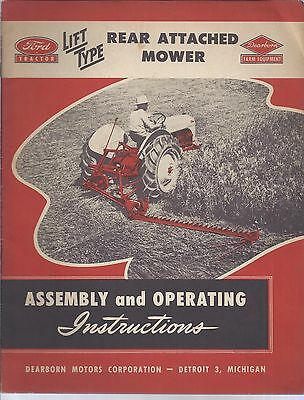Ford Tractor Rear Attached Mower Assembly And Operating Manual