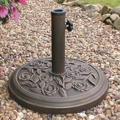 Heavy Duty Metal Garden Parasol Base Bronze Patio Stand Cast Base Iron Effect